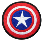 Marvel Comics 8.9cm Captain America Shield Logo Black Trim Embroidered Iron On/Sewn On Patch with Gift Bag