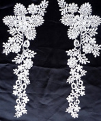 "White/red/black Bridal Gown Skirt Veil Accessories Lace Trim Lace 38cm X5"" By Pair"