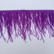 Sowder Purple Ostrich Feathers Trims Fringe With Satin Ribbon Tape for Dress Sewing Crafts Costumes Decoration Pack of 2 yards