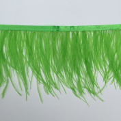 Sowder Lime Green Ostrich Feathers Trims Fringe With Satin Ribbon Tape for Dress Sewing Crafts Costumes Decoration Pack of 2 yards