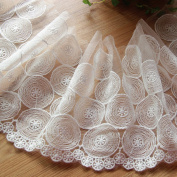 White 5 Yards 18cm Wide Circle Embroidered Lace Trim Fabric Lace Dress Supplies Costumes Accessory