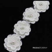 Beaded Pearl Rhinestones Flower Lace Fabric Sew on Applique Decorated Ribbon Trim Sewing Supplies for Craft Cloth 10yard/ T784