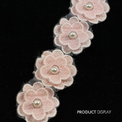Beaded Pearl Rhinestones Pink Flower Lace Fabric Trimming Applique Decorated Ribbon Trim Sewing Supplies for Craft 10yard/ T785