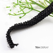 Black Beaded Rhinestones Lace Fabric Ribbon Trim Braided Applique Scrapbooking Craft Sewing Supplies for Wedding Dress 9yd/ T883