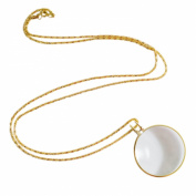 Necklace with 4.4cm Optical Magnifier Lens and 90cm Gold Chain for Library, Reading Fine Print, Zooming, Increase Vision, Jewellery by Super Z Outlet®
