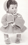Vintage Knitting PATTERN to make - 38cm Baby Doll Clothes Bonnet Skirt Top. NOT a finished item, this is a pattern and/or instructions to make the item only.