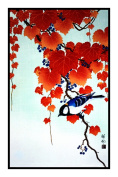 Counted Cross Stitch Chart/Graph Japanese Artist Ohara Shoson's Ivy and Buntings