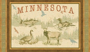 Quilt Minnesota - Duck, Fish & Elk - Cotton Fabric Panel (Great for Quilting, Sewing, Craft Projects, or Throw Pillows) 60cm X 110cm