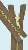60cm Medium Weight Jacket Zipper YKK #5 Brass ~ Separating ~ 161 Light Brown