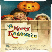 Cushion cover throw pillow case 46cm children Halloween pumpkin lantern playing treat or trick game funny both sides image zipper
