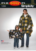 Simplicity Creative Patterns 1269 It's So Easy Stadium Poncho in Two Sizes, Size