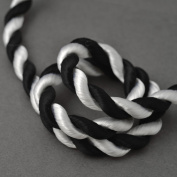 2-Yards 8mm Twisted Craft Cord for pillows, lamps, draperies, Black/White, SCH-24/2