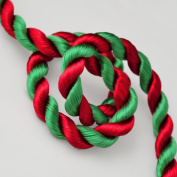 2-Yards 8mm Twisted Craft Cord for pillows, lamps, draperies, Red/Green, SCH-24/2