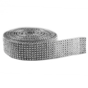 Silver Diamond Sparkling Rhinestone Mesh Ribbon for Event Decorations, Wedding Cake, Birthdays, Baby Shower, Arts & Crafts, 3.8cm x 10 Yards, 8 Row, 1 Roll by Super Z Outlet®