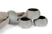 Manor Luxe Cord Wrapped Plastic Napkin Rings (Set of 4), Silver