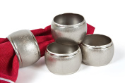 Manor Luxe Textured Metal Napkin Rings (Set of 4), Silver