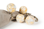 Manor Luxe Mother of Pearl Elegant Ball Metal Napkin Rings