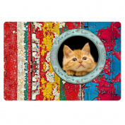 FOR U DESIGNS Welcome to House Cute Kitten Cat Sturdy and Well Made Rubber Doormat