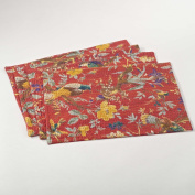 Royal Jacana Birds and Flowers Printed Traycloth Placemat, Set of 4