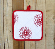 Christmas Pot Holder Snowflake Print Red and White Kitchen Accessory 100% Cotton Size 20cm x 20cm