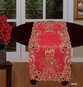 Creative Linens Holiday Christmas Embroidered Poinsettia Candle Bell Table Runner 38cm x 90cm Red Gold