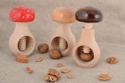 Set of Handmade Wooden Nutcrackers Mushrooms 3 Pieces for Crushing Nuts