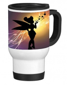 Cute Fairy Kiss Hearts Design Pattern Print 410ml Stainless Travel Mug by Trendy Accessories