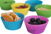 Silicone Baking Cups - 12 Colourful Reusable Flexible Cupcake and Muffin Liners - Free Baking Magazine Bonus With Every Purchase.