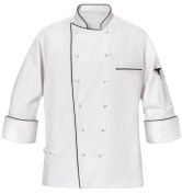 Phoenix Master Chef Coat with Black Piping, Large