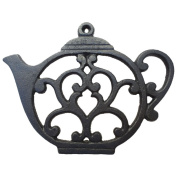 Teapot Trivet - Black Cast Iron - for Kitchen & Dining Table - More than One Makes a Set for Counter, Wall Art or Decoration Accessory - Gift for Tea Lovers & Housewarming Gifts - 20cm by 15cm