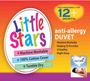 Love2Sleep LITTLE STARS ANTI ALLERGY SOFT HOLLOWFIBRE COT DUVET 120 X 150 TOG : 9.0 TOG AND ONE COT PILLOW 40 X 60 CM