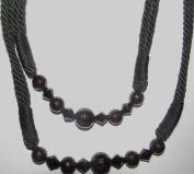 One Pair Dark Black Beaded Twisted Rope Designer Curtain Tie Backs