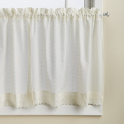 Lorraine Home Fashions Ribbon Eyelet Window Tier, 150cm by 90cm , Ecru, Set of 2