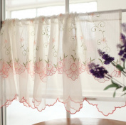Beautiful Two-Layer Pink Bellflower Embroidery Floral Window Valance