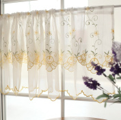 Sweet Yellow Bellflower Two-Layer Embroidery Floral Window Valance