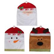 3pcs Christmas Chair Black Covers Decoration Santa Snowman Deer Pattern