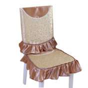 Elegant Country Style Chair Slipcover Lace Romantic Cover, Gold/Brown