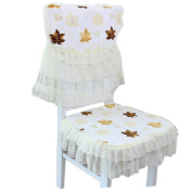Country Style Dining Chair Slipcover Lace Romantic Cover, Yellow Maple Leaf