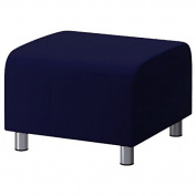 Navy Blue 100% Cotton Replacement Slipcover for Ikea Klippan Footstool with hook and loop Secure Fitting