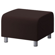 Chocolate Brown 100% Cotton Replacement Slipcover for Ikea Klippan Footstool with hook and loop Secure Fitting