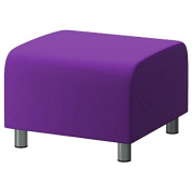 Purple 100% Cotton Replacement Slipcover for Ikea Klippan Footstool with hook and loop Secure Fitting