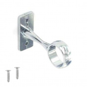 Wardrobe Rail Round Tube with End Sockets and Central Supports in Chrome 25mm Rail Centre Support