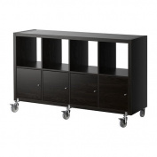 IKEA KALLAX - Shelving unit/4 doors/castors, black-brown
