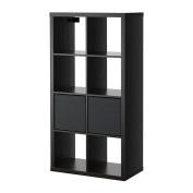 IKEA KALLAX/ DRONA - Shelving unit with 2 inserts, black-brown - 77x147 cm