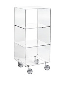 Multipurpose storage unit made of clear methacrylate and with different compartments