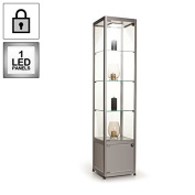 Silver Single Glass Door Display Cabinet, with LED Light and Storage Compartment, Width