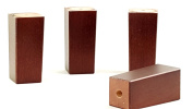 4x REPLACEMENT FURNITURE LEGS SOLID WOOD MAHOGNAY FEET - 110mm HEIGHT - SOFAS, CHAIRS, SETTEE, CABINETS - SELF FIXING