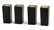 4x REPLACEMENT FURNITURE LEGS SOLID WOOD BLACK FEET - 110mm HEIGHT - SOFAS, CHAIRS, SETTEE, CABINETS - SELF FIXING