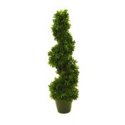 "Artificial Boxwood Tree FRITZ, spiral-shaped, 450 leaves, 24"" / 60 cm, outdoor - Plastic topiary / Artificial spiral tree - artplants"