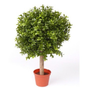 "Artificial Boxwood Ball TOM on trunk, 252 leaves, 14"" / 35 cm, Ø 10"" / 25 cm - Plastic Buxus Tree / Artificial Box Ball - artplants"